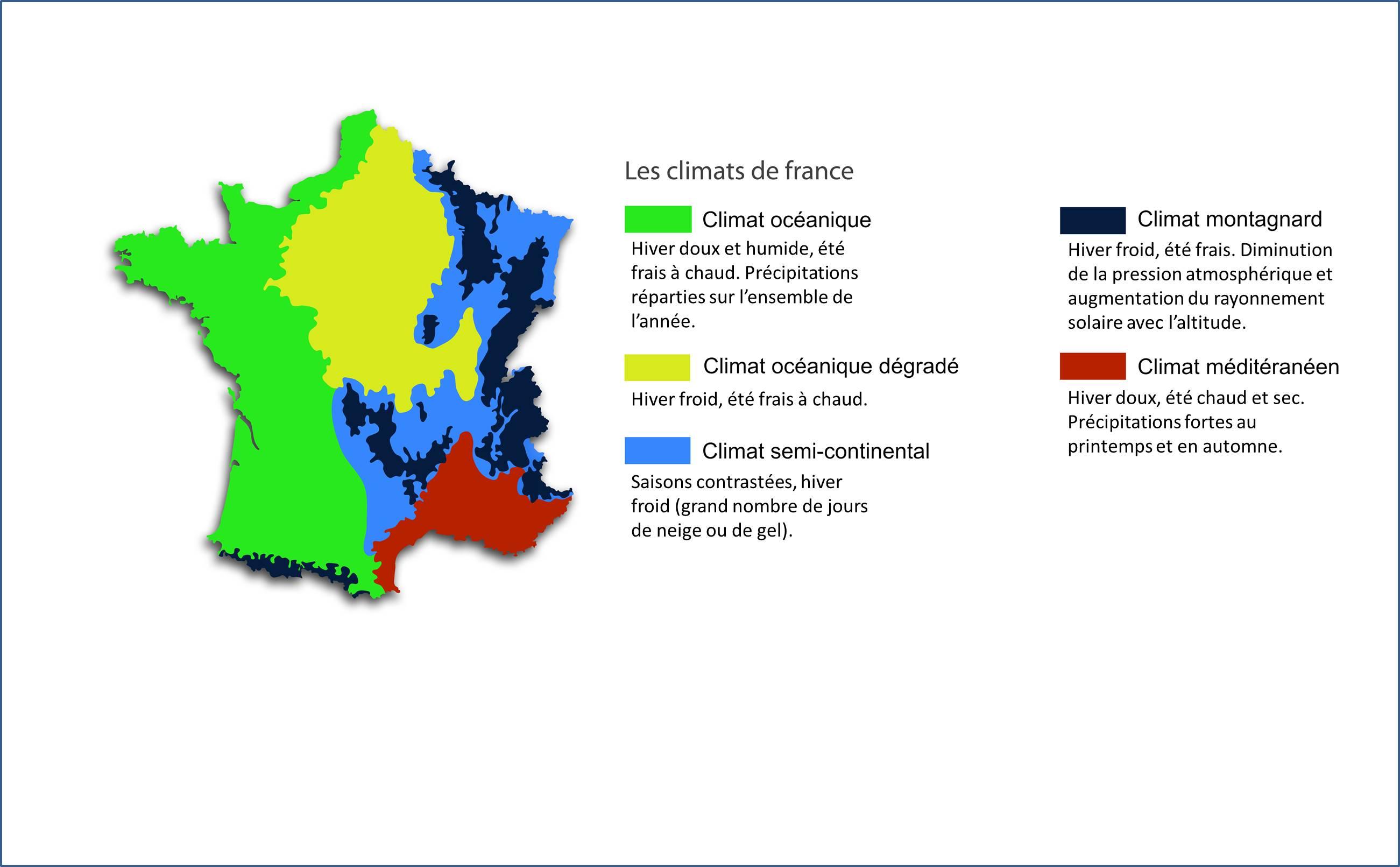 Carte géoclimatique de la France
