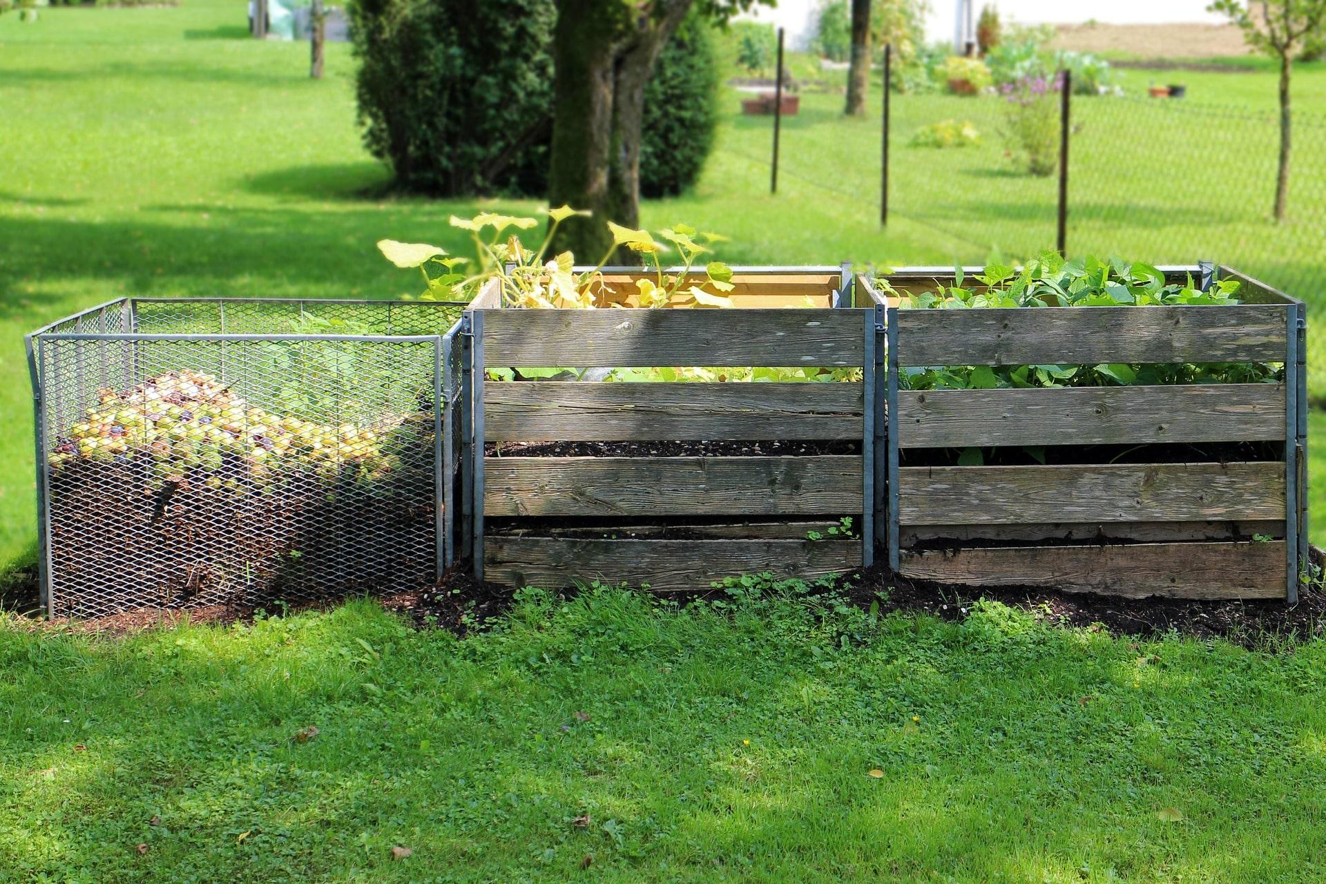 Composteurs dans un jardin